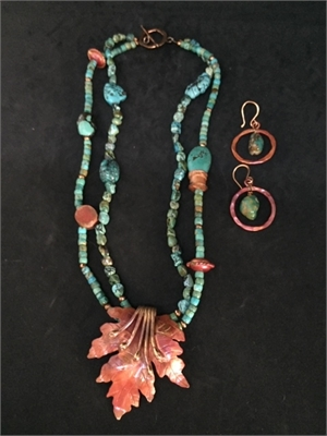 Necklace & Earrings - Turquoise, Blood Copper With Blood Copper Pendant  #802, 2020