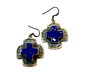 Earring - Sterling Silver Square Cross With Lapis
