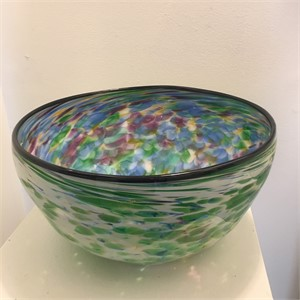 Green and White Swirl with Rainbow Interior XL Bowl, 2019