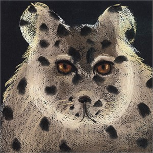 "SNOW LEOPARD - limited edition giclee on paper w/frame size of 21""x21"""