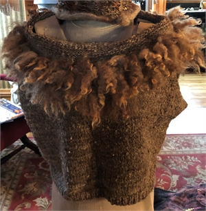 "Hand Knit Brown Vest with Curls ""O/S"""