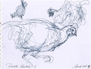 Rooster Sketch I, 3-2014