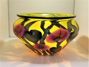 DN#59 Magnum Yellow Bowl w/Cynthia Flowers