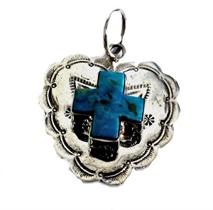 Pendant - Stamped Sterling Silver w/ Onyx Cross