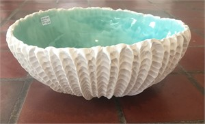 Scallop Clay Bowl with Copper Glaze, 2018