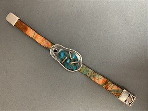 Bracelet - Printer Leather wiht Arizona Turquoise Chunck set in Sterling Silver and Magnetic Clasp AS048, 2019