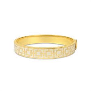 Mosaic-Cream-Gold Hinged Bangle (Edition )