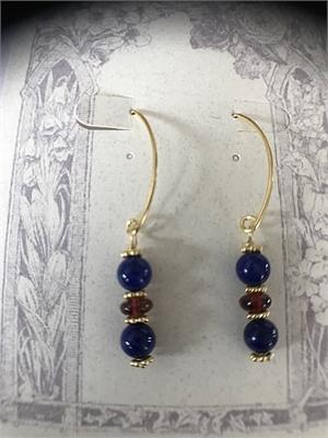 Earrings - Lapis Lazuli, Garnet & Gold Vermeil  #8659, 2020