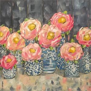Camellias in Ginger Jars by Trish Jones