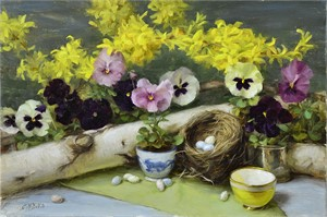 Forsythia and Pansies