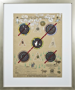 Target Series: No More Shootings, No More Guns Rain Clouds, Spotted Tee Pees, Blue Rabbit, & Forest, 2018