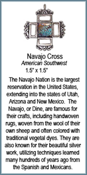 Pendant - Navajo Cross With Turquoise - 8909, 2019