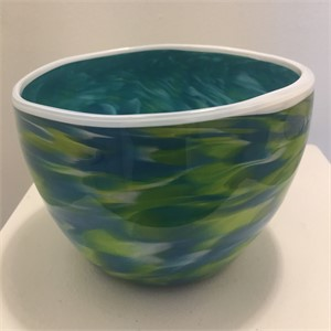 Green and Blue Bowl with White Lip, 2019