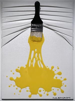 """Let's Paint"" mini, Yellow splash on White, 2019"