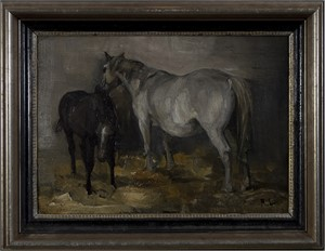 Two Horses (Recto) With Landscape (Verso), c.1900