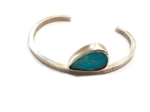 Bracelet - Square Wire Line Cuff w/ Turquoise #4, 2019
