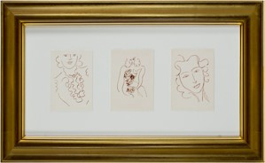 L-to-R: Woman w/Ruffled Blouse&Antique Necklace, Nude w/Flowers, Head of Woman Relaxed. Florilege des Amours de Ronsard Portfolio, 2007