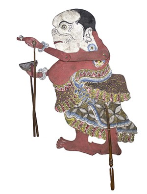 Flat Wooden Puppet (woman with comb and white face) Wayang Klitik