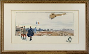 French Air Show With Remarque of Head of Pilot, 1911
