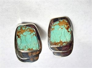 Sterling #8 Mine Arizona Turquoise Clip Earring
