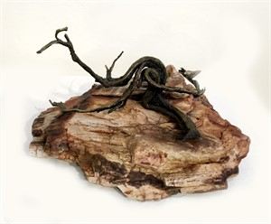 Bronze Sculpture on Copper Petrified Wood-JO#30