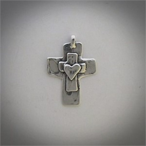 Pendant - A sterling silver cross is centered by a smaller cross which is centered by a heart.  31908, 2019