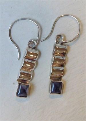 Sterling Iolite Wire Earring