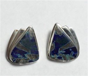 Sterling Silver Azurite Clip Earrings