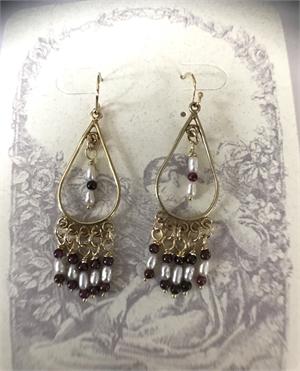 Earrings - Freshwater Rice Pearls, Garnets & Gold Vermeil  #8662, 2020