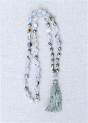 Montana Agate & Pyrite Tassel Necklace