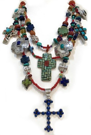 KY 1276 C - Three strand necklace with Turquoise, Silver, trade beads, lapis and black onyx charms., 2018