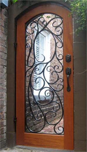 Wood and Wrought Iron Door