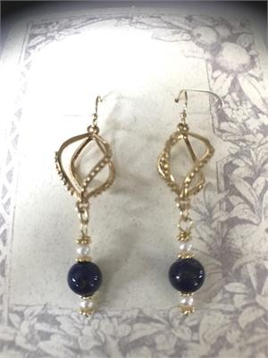 Earrings - Lapis Lazuli, Freshwater Pearls & Gold Vermeil  #8663, 2020