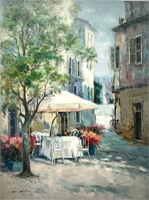 STREET SCENE W/ OUTDOOR SEATING
