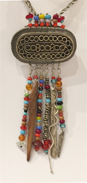 DK2547-Pendant-African Trade Beads, Ivory