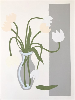 Collage, White Tulips in Gray Vase II, 2019