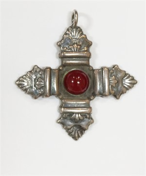 Pendant - Silver Cross of St. Thomas With Stone  9333, 2019