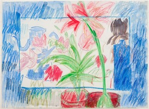 Blue Bottle, Flowers and Coffee Pot in Border, 1980
