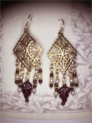 Earrings - Garnet, Freshwater Pearls & Gold Vermeil  #8658, 2020