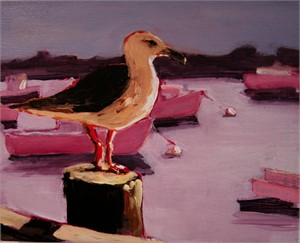 Seagull on pier with purple