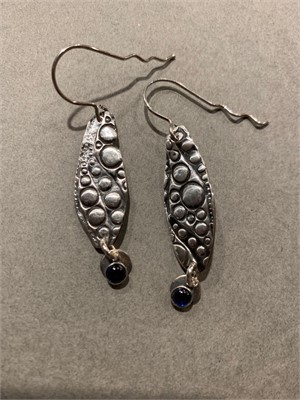Earrings - Happy bubbles with fine silver, blue sapphire using sterling silver  ADC018, 2018