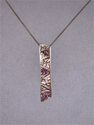 """Pendant - Reticulated Silver Set In Sterling Silver, Rough Cut Ruby's Prong Set.  22"""" Sterling Silver Chain  AS 055, 2019"""