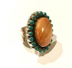 Ring - Sterling Silver Spiny Oyster & Turquoise Adjustable, 2019