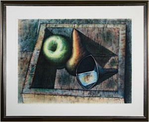 Bodegon - Still Life:  Apple, Pear & Funnel in Box, 1980