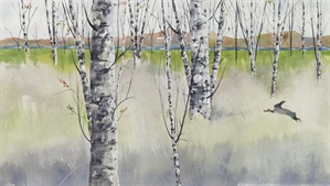 Birches and Bunny by Jake Marshall