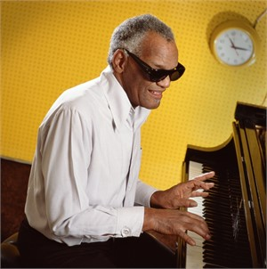 88097 Ray Charles Playing Piano Against Yellow Color, 1988