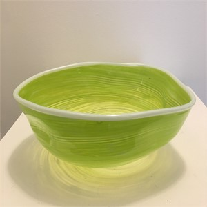 Lime Green bowl with White Lip, 2019
