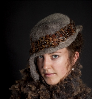Grey Asymmetrical Hat With Brown Feathers