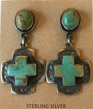 Earrings - Turquoise Square Cross in Silver with Turquoise Post Dangle