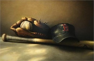 red sox hat, ball, glove and bat, 2008